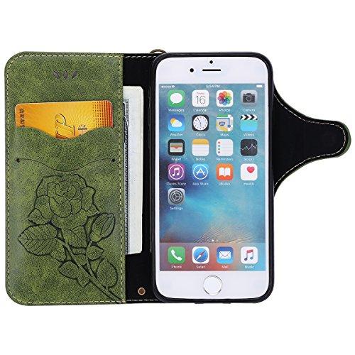 Custodia iPhone 8,Custodia iPhone 7,ikasus® Cover iPhone 8 / iPhone 7 Custodia [PU Leather] [Shock-Absorption] Protettiva Portafoglio Cover Custodia Con retro fibbia in pelle 3D rilievo in rilievo Ros Verde