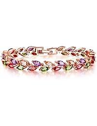 Jewels Galaxy Charms Leafs-in-Tiara AAA GradeSwiss CZ 18K Rose Gold Diamond Strand Bracelet for Girls and Women