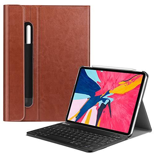 Fintie Tastatur Hülle für iPad Pro 11 2018 (Kompatibel mit 2. Gen Pencil, kabelloser Ladefunktion) - Ultradünn Keyboard Case mit magnetisch Abnehmbarer drahtloser Deutscher Tastatur, Sattelbraun