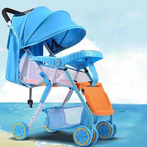 Preisvergleich Produktbild Baby's Imitation Rattan Kinderwagen Sommer Outdoor Reisen leicht Kinderwagen Folding Portable Kinderwagen Baby Dining Stuhl für 1-36 Monate , sky blue