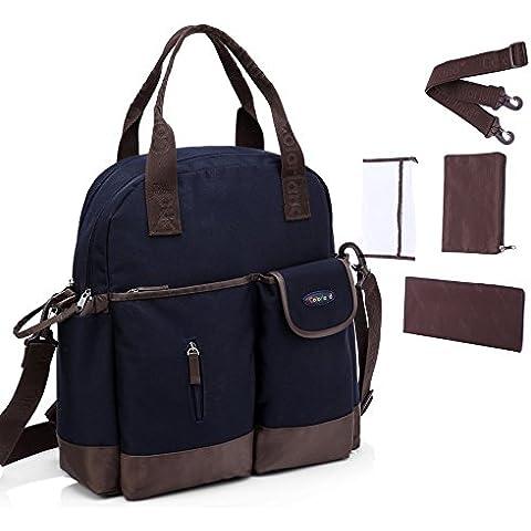 CLD del vestido de las mujeres bolsa de pañales para pañales de una bolsa de regalos 4 piezas de la mochila de Liwen blanco y azul de color marrón