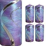 Weihnachten Kerzen Set 4 Stück Stumpenkerzen Adventskerzen 100x50 Dekokerzen Kerzen für Adventskranz türkise lila silber andere Farben möglich IW12