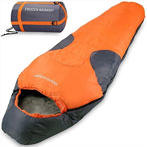 Mountaineer Frozen Mummy Schlafsack Mumienschlafsack Deckenschalfsack mit Kapuze - Leicht mit kompakter Tragetasche - Farbe Orange-Anthrazit -