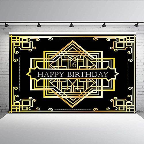 mehofoto Great Gatsby Hintergrund 7x 150Zum 16. Geburtstag Erwachsene Zeremonie Hintergrund Nahtlos knitterfreies Foto Video Requisiten (Gatsby Foto Requisiten)