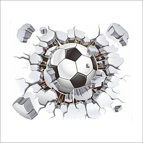 3D Stickers muraux Kangrunmy 1 PC Soccer Football Modèle Meubles Plastique Sport Enfants Chambre Maison Chambre Décalque Décor (blanc, 50 x 40 cm)