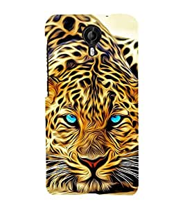 PrintVisa Digital Translucent Tiger 3D Hard Polycarbonate Designer Back Case Cover for Micromax CanvasNitro4G E371