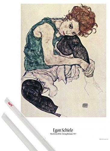 Poster + Hanger: Egon Schiele Poster (91x61 cm) Die Frau Des Künstlers, Sitzende Frau, 1917 Inklusive Ein Paar 1art1® Posterleisten, Transparent