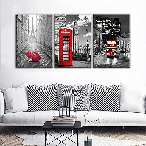 LQWE Leinwand-Malerei Leinwand Hd Print Gemälde 3 Stücke Eiffelturm Rot Auto Bus Regenschirm Bilder Rot Telefon Box Poster Wohnkultur Wandkunst