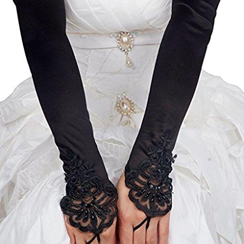 Liying Neu Damen Lange Hochzeithandschuhe Brauthandschuhe Fingerlose Spitze Handschuhe Hochzeit Abend Party Satin sexy Spitzenhandschuhe