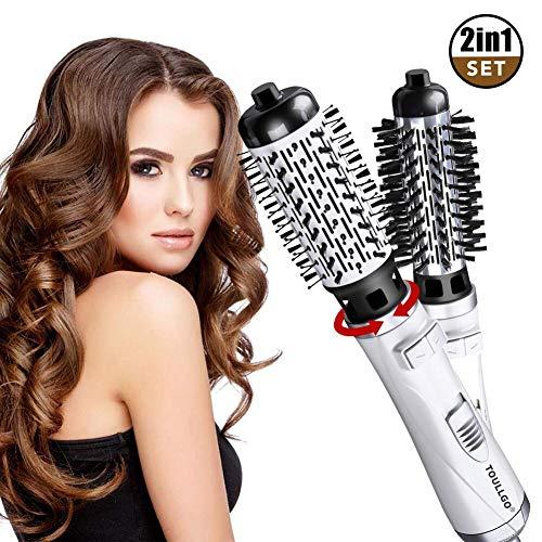 Warmluftbürste, Heißluftbürste, Warmluftbürste Brush, Rotierende WarmluftbüRste Brush, Auto-Rotation-Heißluftbürste, One-Step 2 in 1 Haarstyler StylingbüRsten Elektrische Ionisch LockenbüRste