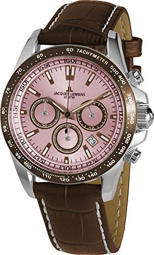 Jacques Lemans Gents Reloj Liverpool 1–1836d Pantalla analógica y Piel de Oro