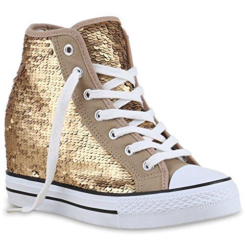 Damen Sneakers Keilabsatz Pailletten Sneaker-Wedges Schuhe Gold