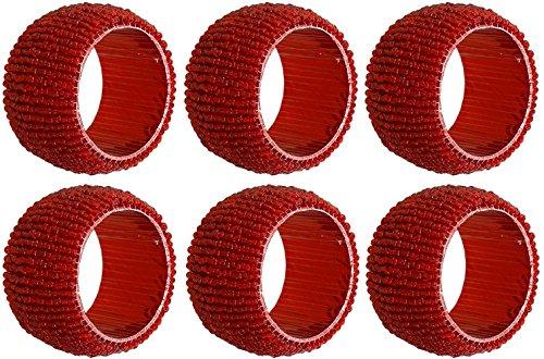 Set di 6 - portatovaglioli pacco rosso - scavano fuori portatovaglioli rotondi per cena di vacanza festa di nozze - dia 6,4 cm