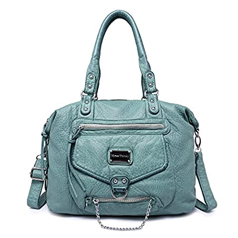 Veevan Ultra Soft Leather Classic Hobo Style Shoulder Handbags (Turquoise)