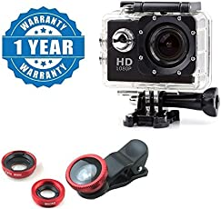 captcha 3in1 Universal Clip Fish Eye Lens with 1080P Action Waterproof Camera Multiple Modes for All Android or iOS Devices (Colour May Vary)