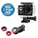#1: captcha 3in1 Universal Clip Fish Eye Lens with 1080P Action Waterproof Camera Multiple Modes for All Android or iOS Devices (Colour May Vary)