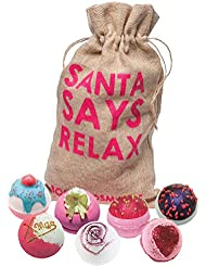 Bomb Cosmetics Santa Says Relax Handmade Hessian Bath Blaster Gift Pack [Contains 7-Pieces], 1.1kg