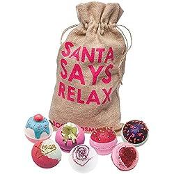 Bomb Cosmetics Santa dice Relax hecha a mano de arpillera regalo pack