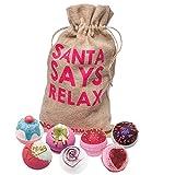 Bomb Cosmetics - Hotte-cadeau «Santa Says Relax» contenant des gourmandises de bain et faite à la main en toile de jute - Lot [7x 160g]