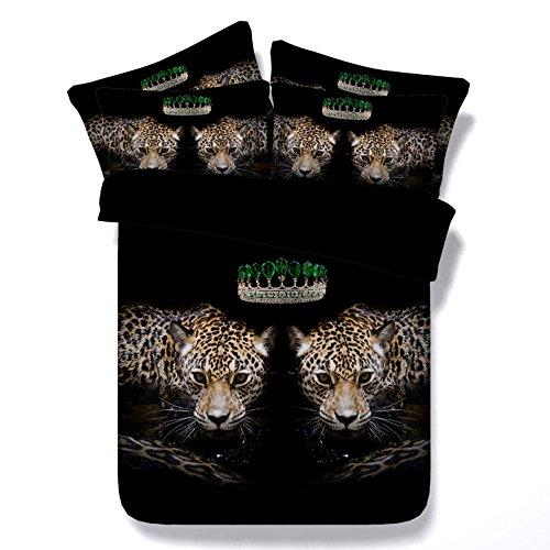 HUANZI YU Bettwäsche-Sets doppelte Größe Bettbezug 3D zwei Leoparden Muster Digitaldruck weiß Faser Material-schwarz, 260*225 (Leopard-druck Bettwäsche-set)