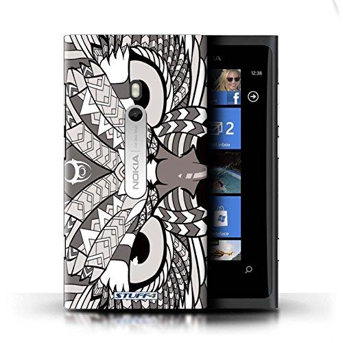 Coque en plastique pour Nokia Lumia 800 Collection Motif Animaux Aztec - Hibou-Couleur Hibou-Mono
