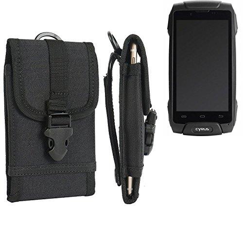 K-S-Trade Handyhülle für Cyrus CS 30 Gürteltasche Handytasche Gürtel Tasche Schutzhülle Robuste Handy Schutz Hülle Tasche Outdoor schwarz