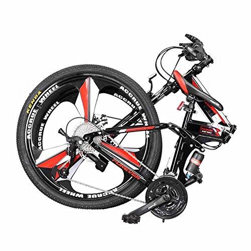 YEARLY Berg klappräder, Erwachsene klappräder Off-Road- Doppelter stoßdämpfer Weiche rute 27 Geschwindigkeit Shimano Klappräder-Rot 26inch