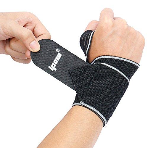 Ipow® Sport Soutiens de main-poignet ceinture professionnel protège poignet pour gym/musculation/ aérobic/sports/body-building pour Homme et Femme, Lot de 2