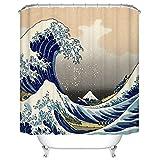 Bishilin Badewannen Duschvorhang 180x180 Meereswelle 3D Lustiger Duschvorhang aus Polyester-Stoff