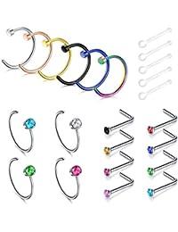 VCMART Nez piercing anneau en acier inoxydable nez Stud Studs - beaucoup de styles