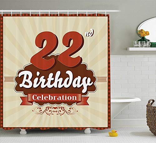HOJJP 22nd Birthday Decorations Shower Curtain, Birth Greetings Celebrate Your New Age Retro Style Design, Fabric Bathroom Decor Set with Hooks, 60W X 72L Inche Long, Cream Red Brown - Firm Moisture Cream