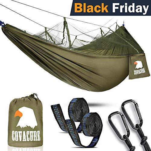 Camping Hamac Set avec Moustiquaire, 2 Sangles D'arbres Carabiners Cordes...