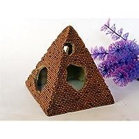 LMKIJN Bonita Ornamento de Las pirámides del Acuario para la Cría del Camarón Ocultación de los Pescados Ornamento del paisajismo del Tanque de Pescados para la Decoración del hogar