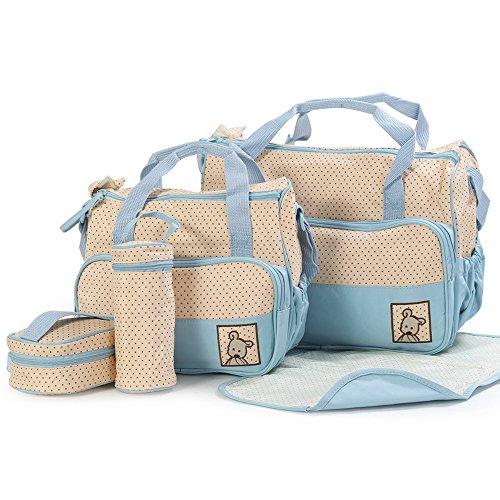 Joymoze Klassisches 5-teiliges Set Windeltaschen modisch multifunktionell Mama Tasche Dunkelblau 818 Hellblau