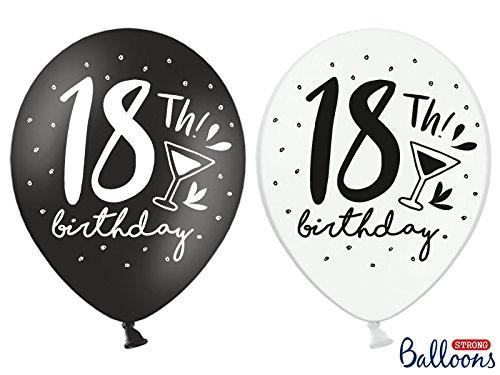 Luftballon Zahl 18 schwarz weiss mix zum 18. Geburtstag 18th Birthday 10 Stück 30cm Durchmesser , 110 cm Umfang , 12 Zoll Heliumgeeignet Ballon Dekoration Geburtstag Party Jahrestag Zahl1