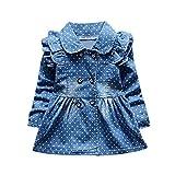 BYSTE Vestito Bambina Ragazze Abiti Primavera Stampa Denim Manica Lunga Gonna di Jeans Vestito da Principessa Tops (A, 12 Mesi)