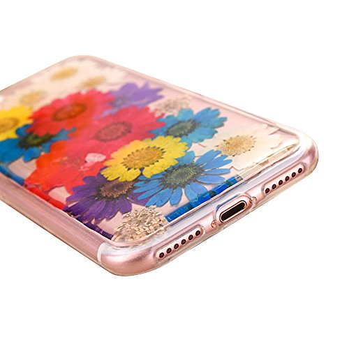 """iPhone 7Plus Schutzhülle, iPhone 7Plus Soft TPU Handytasche, CLTPY Modisch Durchsichtige Rückschale im Getrocknete Blumenart, [Stoßdämpfung] & [Kratzfeste] Full Body Case für 5.5"""" Apple iPhone 7Plus ( Floral 5"""