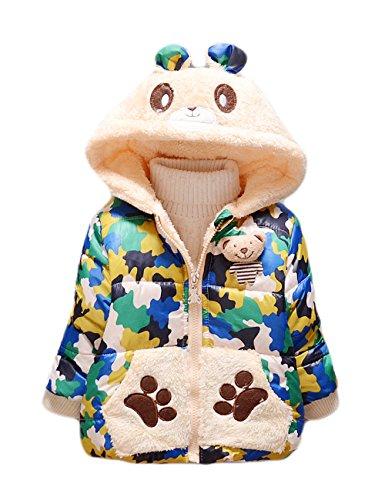 Tkria cotone del bambino da parte anche camuffamento cappotto di lana con le orecchie 2-3 anni