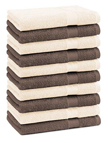 Betz 10er Pack Seiftücher Set Größe 30x30 cm 100% Baumwolle Seiflappen Premium Farbe Nuss Braun & Beige