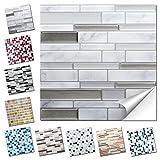Wandaro 4er Set Fliesenaufkleber 27 x 25,4 cm grau marmor Silber dunkelgrau Ziegel Design 37 I 3D Aufkleber Fliesenfolie Mosaik Bad Küche W3467