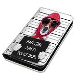 Hülle Galaxy S3 Mini Hülle Samsung S3 Mini i8190 i8200 Schutzhülle Handyhülle Flip Cover Case Samsung Galaxy S3 Mini i8190 i8200 (OM1041 Hund Bad Girl Schwarz Rot Weiß)
