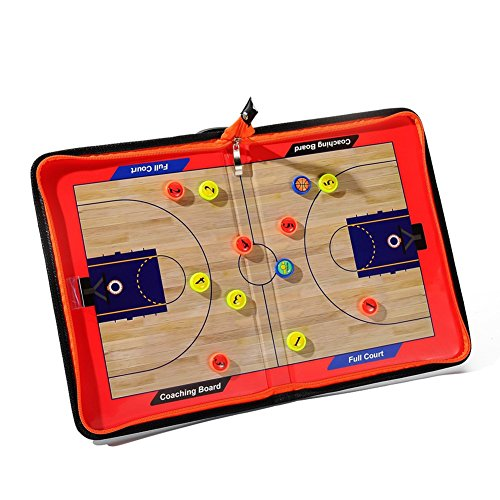 Katech tragbar Basketball Coaching Board Set Basketball Coach Taktik Magnettafel Board tolle Basketball Trainings Ausstattung (Coach-board Basketball)