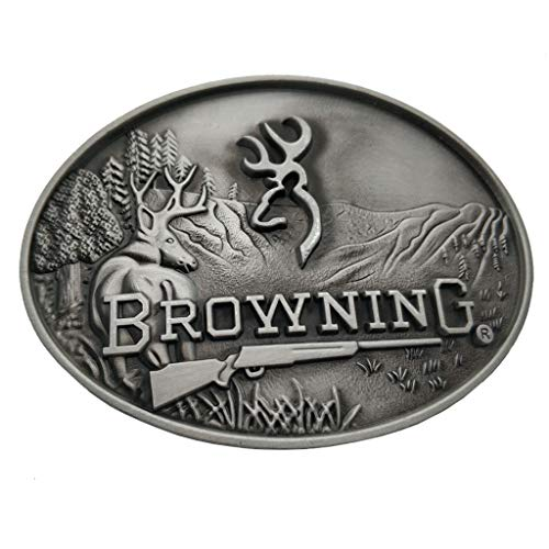 Xwest Hebilla de cinturón Browning Buckmark Belt Buckle Silver Deer Country Hunting Fishing