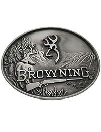 Xwest Browning Buckmark Belt Buckle Silver Deer Country Hunting Fishing Boucle  de ceinture 725a54d23be