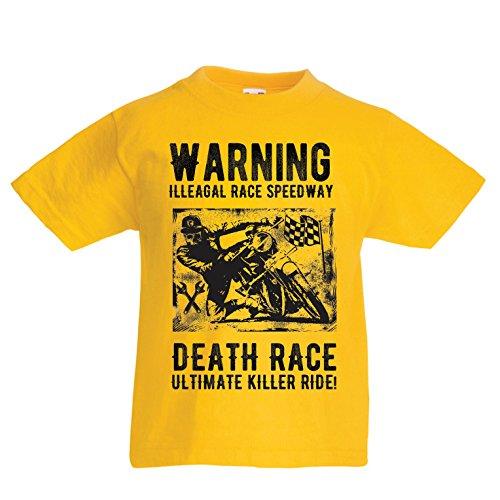 Kinder Jungen/Mädchen T-Shirt Todesrennen - ultimative Killerfahrt, Motorradrennen, Klassiker, Vintage, Retro-Schädel-Biker, Motorrad (14-15 Years Gelb Mehrfarben)