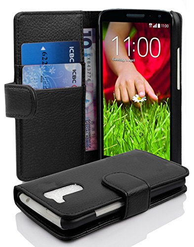 Gummi Lg Case G2 (LG G2 MINI Hülle in SCHWARZ von Cadorabo - Handyhülle mit Kartenfach für LG G2 MINI Case Cover Schutzhülle Etui Tasche Book Klapp Style in OXID SCHWARZ)