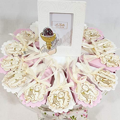 Bomboniere comunione ecomomiche originali torta porta confetti calice con confetti (torta 14 fette femmina)
