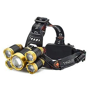 Cooolla Linterna Frontal LED Recargable Linterna de cabeza Rango de Iluminación Hasta 500 Metros para Camping,Caza, Pesca, Ciclismo,Luz de Emergencia y Trabajo al aire libre(Batería 18650/4200mAH incluida)