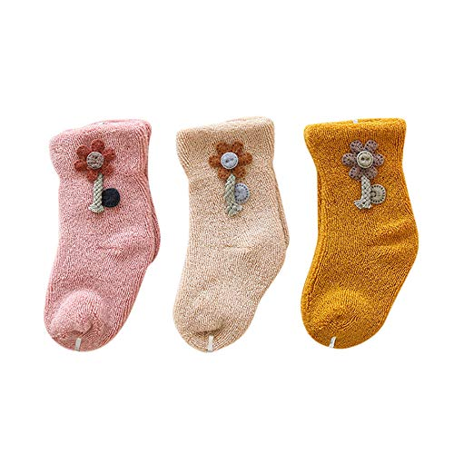 Fenverk Baby Socken Unisex Weich Elastisch Neugeborenes Warm Baumwolle Terry Stoff Kleinkind Junge Nicht Skid Süß Mit Griffen Jungs Anti-Rutsch MäDchen Karikatur Schuhe 1-3 Jahre Alt(A,3 pair M)