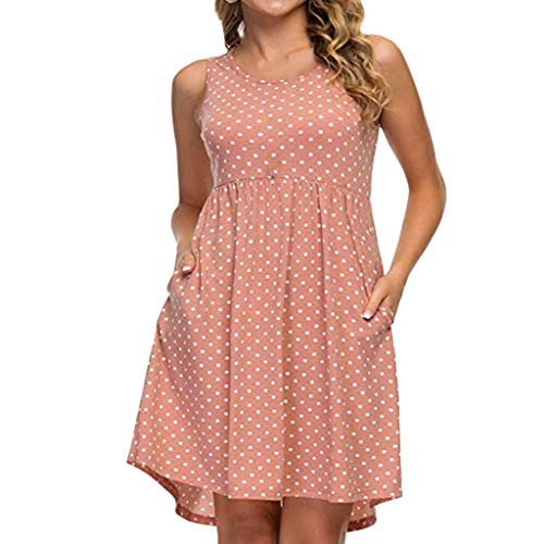 Damne Minikleid Ärmellos Große Größe Sexy Kleider Partykleid Boho Kleider Elegante Polka Dot Sommer Standkleid Blusekleid (Rosa.3XL)
